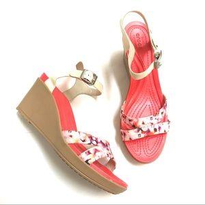 Crocs Leigh II Floral Strap Comfort Wedges Sandals